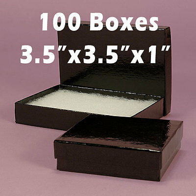 100 Black Gloss Square Jewelry Bracelet Gift Box Padding Filled 3.5 X 3.5 X 1