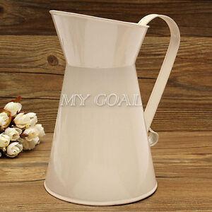 Vintage Shabby Chic Cream Vase Enamel Pitcher Jug Tall Metal Wedding Decor