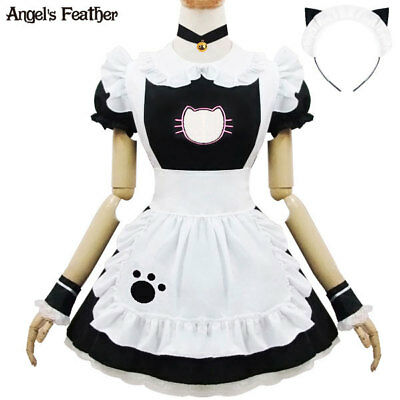 Japanese Cat Maid Costume Dress Cosplay Halloween Uniform Chest Cut Out Fullset