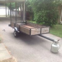 4x8 utility trailer with built in ramp( ball and hitch included)