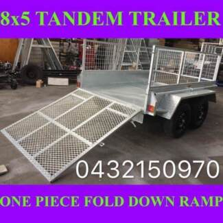 8x5 TRAILER TANDEM HEAVY DUTY TRAILER CAGE RAMP GALVANISED 2