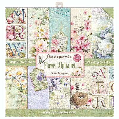 1 Set Scrapbooking Papier 30 x 30 cm SBBL30 Flower alphabet