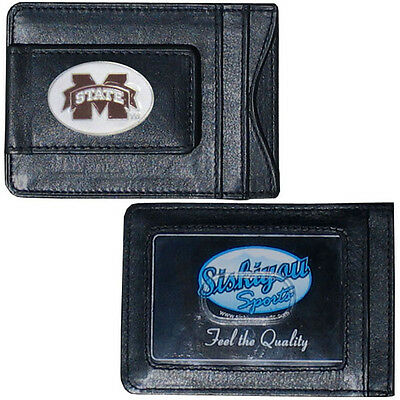 Mississippi State Bulldogs Fine Leather Money Clip ID Card & Cash Holder NCAA