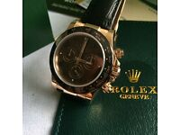 Rose leather daytona mens automatic watch rolex unfading sweeping chrono boxed