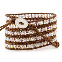 HANDMADE Leather 5 Wrap Bracelet of Faux Pearls & Czec. Crystals