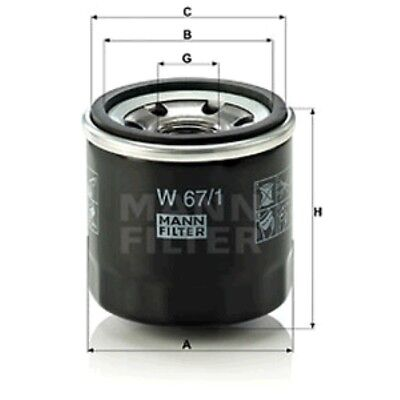 Mann W67/1 Oil Filter Spin On 65mm Height 66mm Outer Diameter Service