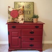 Red sideboard table