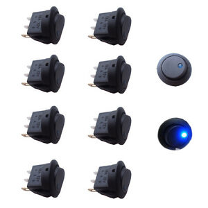 10PCS Blue Led Dot Light 12V Car Boat Auto Round Rocker ON/OFF SPST Switch