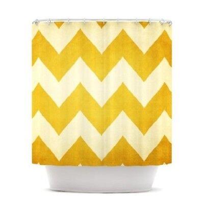 KESS INHOUSE Shower Curtain by Catherine McDonald, Yellow Gold Zigzag Pattern