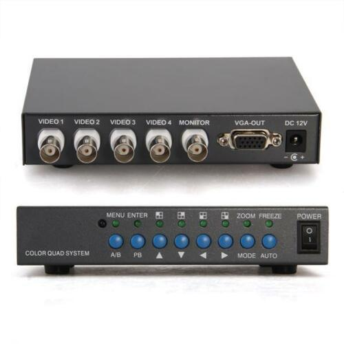4 CH Color Real Time Video Quad CCTV Splitter Processor Switch System - 4CH Quad