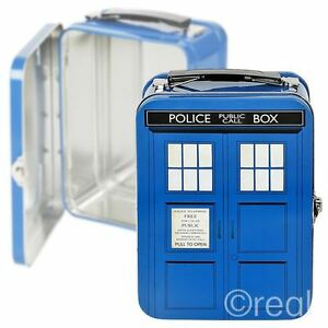 New Doctor Who TARDIS Tall Tin Tote Lunch Box School Retro Official