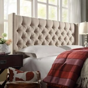 Beige Tufted Headboard (Includes Frame) For Double Bed