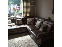 Leather corner sofa, chair and pouffe for sale