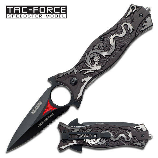 "8"" TAC FORCE DRAGON SPRING ASSISTED TACTICAL FOLDING KNIFE Pocket Blade Switch"