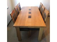 Solid oak Vineys Dining room table & 6 chairs with matching side board