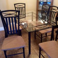 Glass table top and 6 chairs