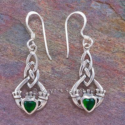 (CELTIC CLADDAGH Earrings Hook Dangle Green Irish Love Heart Sterling Silver 925 )