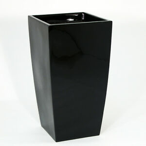 Large-Black-Wedge-Indoor-Outdoor-Planter-Home-Garden-Office-Plant-Pot-Box