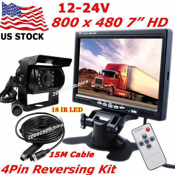 "7"" HD Rear View Monitor Vehicle Backup Camera Kit for Camper"