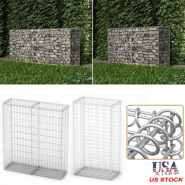 Gabion Basket with Lids Galvanized Steel Wire Stone Cage Fence Outdoor Garden US