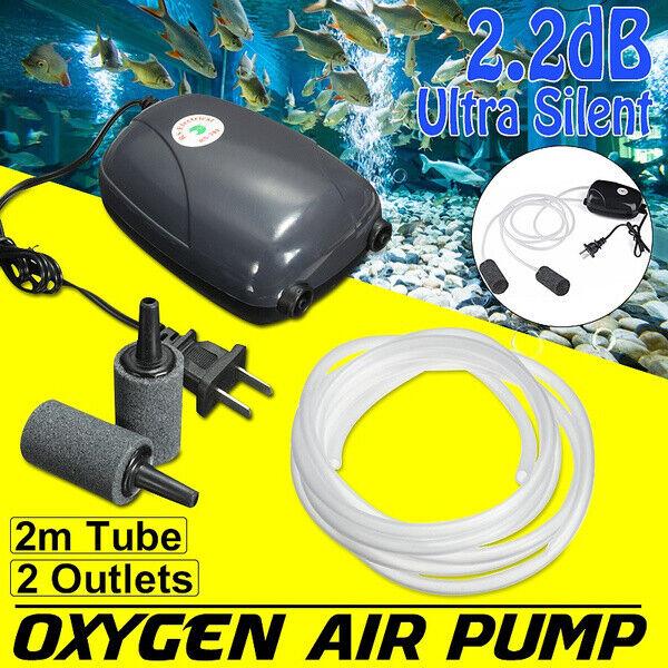 300 Gallon Adjustable Silent Air Pump Large Aquarium Fish Tank 2 outlet USA
