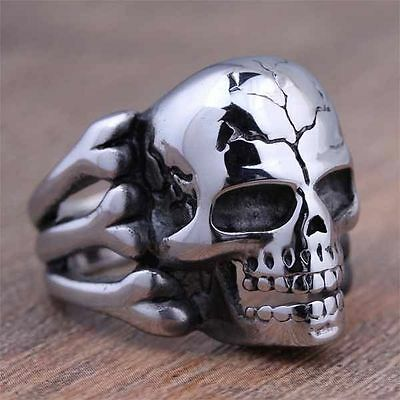 Skull Ring BAD ASS Biker Stainless Steel Harley  Biker Size 11            #J61-6