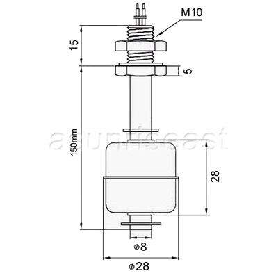 150mm Stainless Steel Float Switch Tank Liquid Water Level ... on