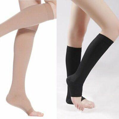 20-30mmHg COMPRESSION KNEE HIGH Open Toe Men Women Socks Sup