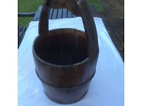 Vintage wood bucket, container, storage, with handle, iron bound.