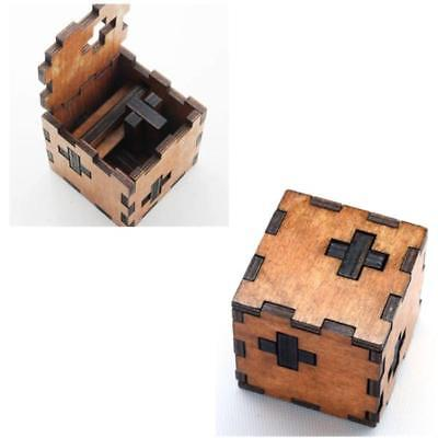 Wooden Secret Puzzle Box Wood Brain Teaser Toy Gift for Children Child J