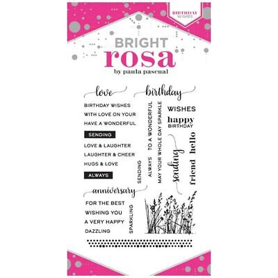 Bright Rosa A6 Stamp Set Birthday Wishes Set of 27 | Sunflowers and Sentiments