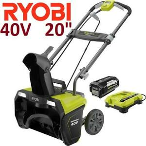 "NEW RYOBI 40V CORDLESS SNOW BLOWER RY40840 214777428 20"" SNOWBLOWER 5.0Ah BATTERY AND CHARGER WINTER"