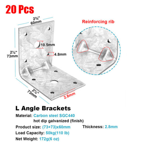 20Pcs 2⅞ inches Steel L Right Angle Bracket Galvanized Metal Joint Corner Braces