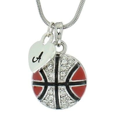 Custom Letter Basketball Ball Red Pendant Made With Swarovski Crystal Necklace