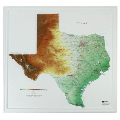 "Hubbard AMEP Texas Raised Relief Map NCR Style- unframed 28"" x 27"" approx"
