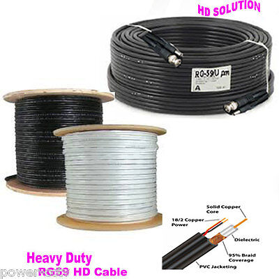 100ft Premade RG59 Combo Siamese CCTV Coaxial BNC Cable H> HD Security Camera H1