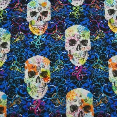 SALE 100% Cotton Fabric Timeless Treasures Floral Funky Candy Skulls](Skull Candy Costumes)
