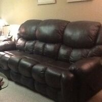 Leather Reclining Couch & Loveseat