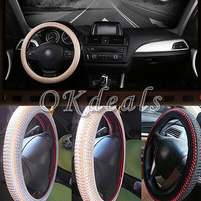 38CM Black Ice Silk DIY Car Steering Wheel Cover Anti-Slip Easy Use Cool Summer - Easy Summer Diys