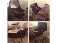 Mamas and papas Pram, buggy and car seat travel system. Winter fabric. Good clean condition