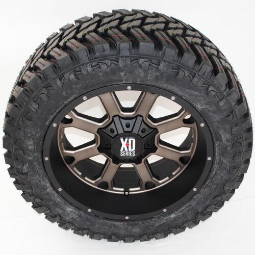 "22"" 22x10 Xd825 Buck 25 35x12.50r22 Atturo Mt 35"" Tires Ram F150 Silverado 2500"