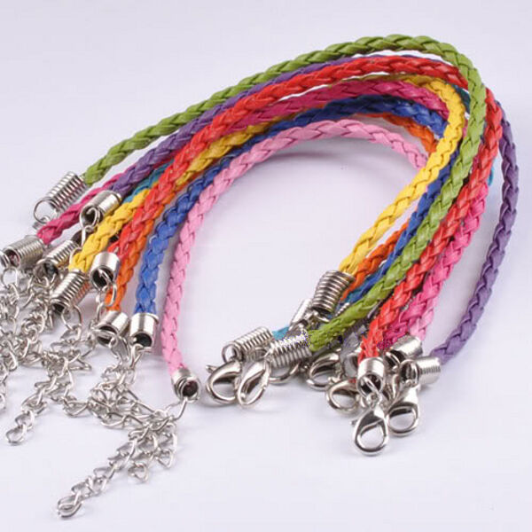 Leather Bracelet Set Braided Mixed Colors 7-9 inches Jewelry Lot of 10