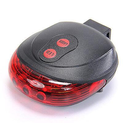 Neu 5 Rot LED 2 Laser Fahrrad Rücklicht Sicherheit Licht Rücklampe Beleuchtung