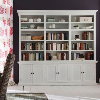 Hamptons All White 240cm Triple Bay Bookcase Library Bulleen Manningham Area Preview