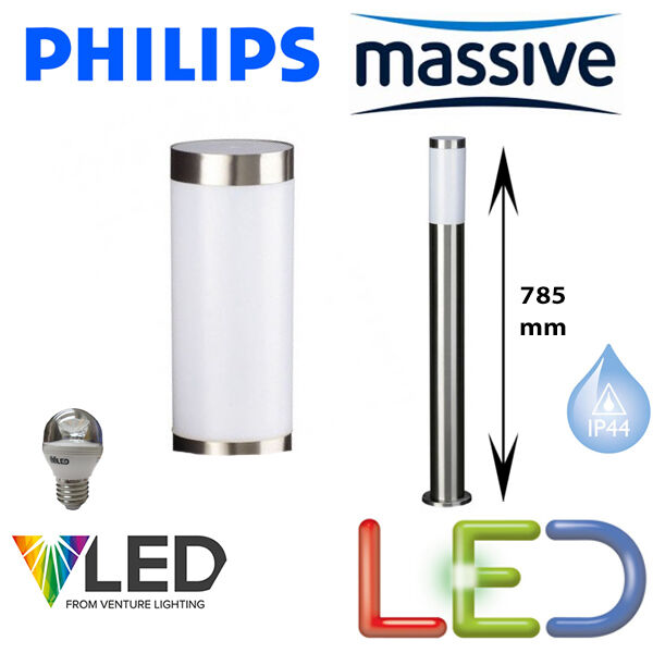 PHILIPS Massive Utrecht LED 5.9 watt jardin balise lumière Finition Acier Inoxydable