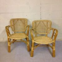 Pair of rattan wicker chairs