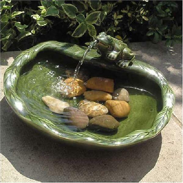 Solar Water Fountain Outdoor Decor Ceramic Bird Bath Patio F