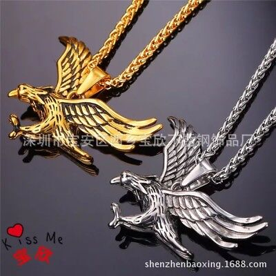 Men's 18K Gold Plated Stainless Steel Eagle Pendant Necklace Box Chain 3MM 24