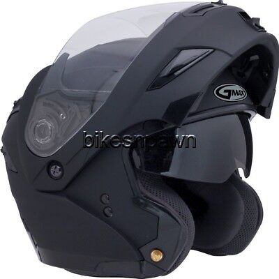 L GMax GM54S Flat Black LED Modular Motorcycle Helmet ()