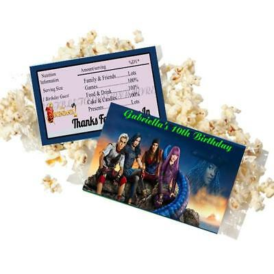 Popcorn Wrappers (20 Personalized DESCENDANTS Microwave Popcorn Wrappers Party Favor Standard Size )